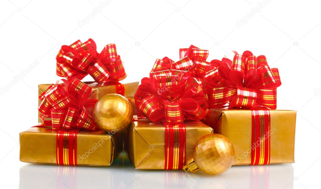 Beautiful golden gifts with red ribbon and Christmas balls isolated on white — Stock Photo #8114547