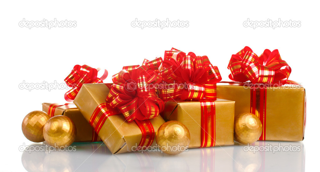 Beautiful golden gifts with red ribbon and Christmas balls isolated on white — Stock Photo #8114553
