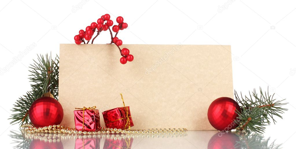Blank postcard, gifts, Christmas balls and fir-tree isolated on white — Stock Photo #8115873
