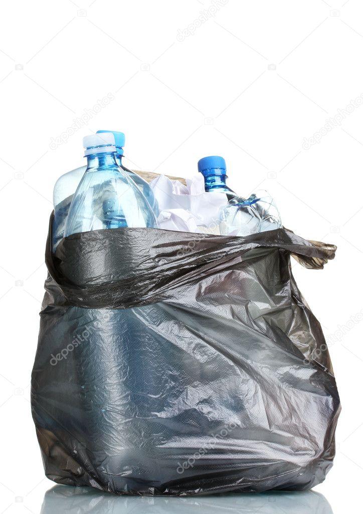 Trash Bag Open Open Black Garbage Bag With