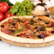 Delicious pizza on wooden board, vegetables and spices isolated on white — Stock Photo