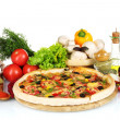 Delicious pizza on wooden board, vegetables, spices and oil isolated on whi — Stock Photo #8120127