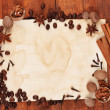 Old paper for recipes and spices on wooden table — Stock Photo #8120472