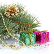 Green Christmas tree with gift and cones isolated on white - Stock Photo