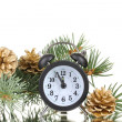 Stock Photo: Green Christmas tree and clock isolated on white