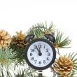 Green Christmas tree and clock isolated on white — Stock Photo #8121030