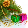 Royalty-Free Stock Photo: Green Christmas tree with gift and cones isolated on white