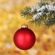 Christmas ball on the tree on yellow - Foto Stock