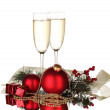 Two glasses with christmas decoration on white background — Stock Photo