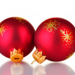 Stock Photo: Red christmas balls isolated on white background