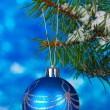 Christmas ball on the tree on blue - Stok fotoğraf