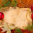 Christmas card on wooden table - 