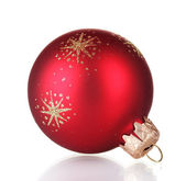 Red christmas ball isolated on white background — Stock Photo
