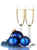 Champagne with christmas decoration on white background — Stock Photo