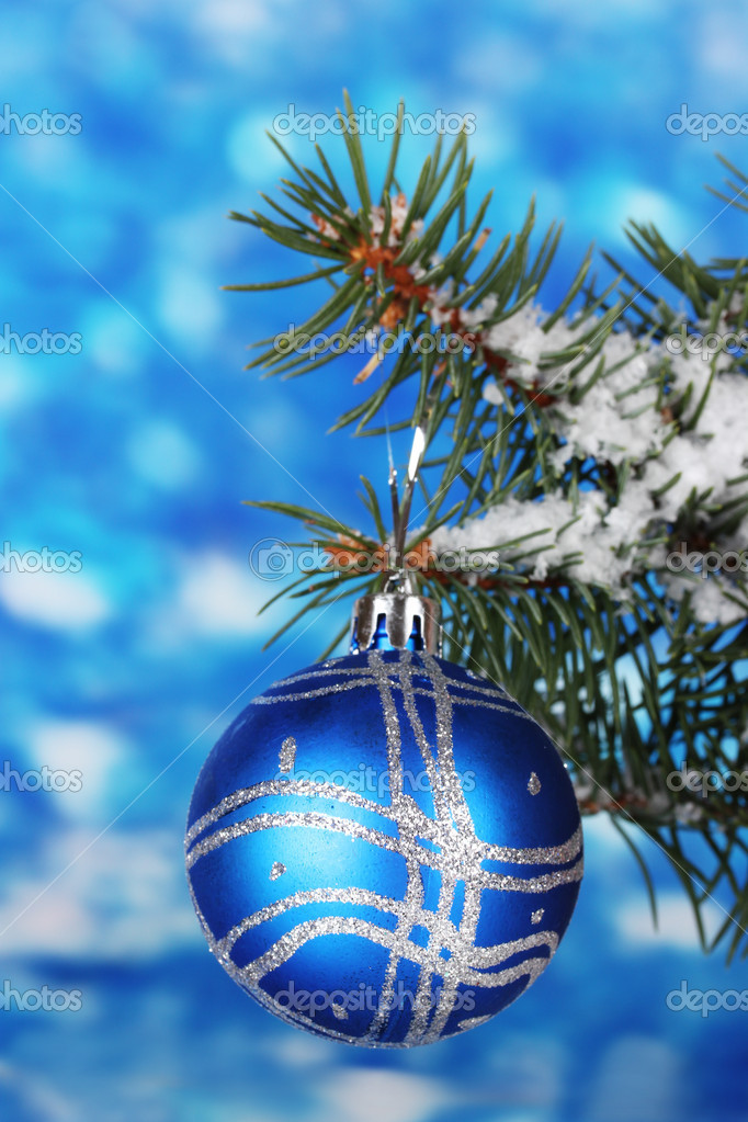 Christmas ball on the tree on blue  Stock Photo #8121517