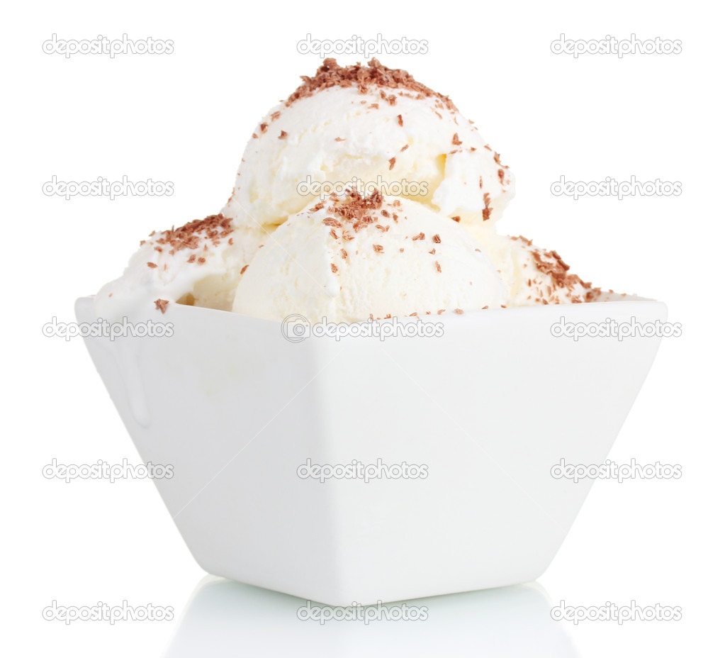 Delicious vanilla ice cream with chocolate in bowl isolated on white — Stock Photo #8121942