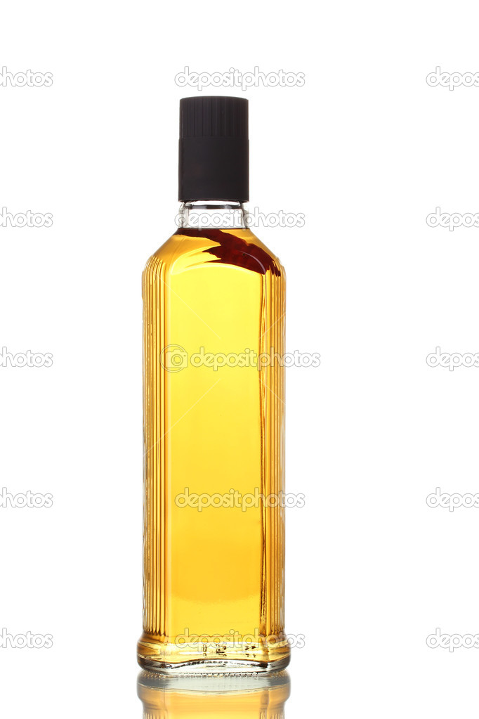 Bottle of vodka with pepper isolated on white — Stock Photo #8122363