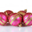 Beautiful pink Christmas balls isolated on white — Stock Photo #8167955