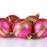 Beautiful pink Christmas balls isolated on white — Stock Photo #8167955
