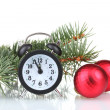 Stock Photo: Green Christmas tree with toy and clock isolated on white