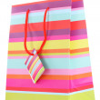 Striped gift bag isolated on white - Stockfoto