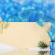 Blank postcard, Christmas balls and fir-tree on blue background - Foto de Stock