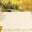 Blank postcard, Christmas balls and fir-tree on yellow background - Lizenzfreies Foto