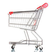 Empty shopping cart isolated on white — Stock Photo