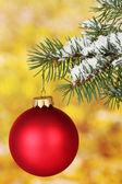 Christmas ball on the tree on yellow — Stock Photo
