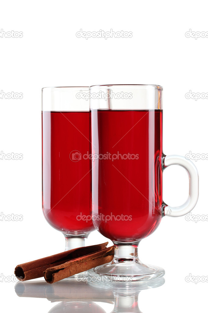 Mulled wine in the glasses and cinnamon isolated on white  Stock Photo #8199211