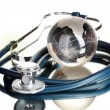 Globe and stethoscope isolated on white — Stock Photo