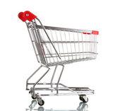 Lege winkelwagen geïsoleerd op wit — Stockfoto