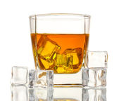 Glass of scotch whiskey and ice isolated on white — Stock Photo