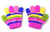 Heldere gestreepte baby handschoenen geïsoleerd op wit — Stockfoto