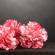 Beautiful carnations on wooden table on grey background — Stock Photo #8271392