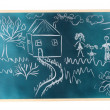 Blackboard with drawing happy family with house isolated on white — Stock Photo #8271403