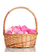 Beautiful pink rose petals in basket isolated on white — Stock Photo