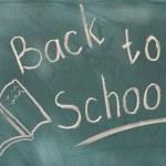 Back to school written on green chalkboard — Stock Photo #8281141