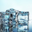 Melting ice cubes on blue background — Stockfoto