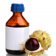 Green and brown chestnuts and medical bottle isolated on white — Stockfoto