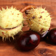 Green and brown chestnuts on wooden background - Stok fotoğraf