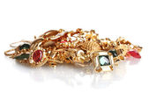 Divers bijoux en or isolé sur blanc — Photo