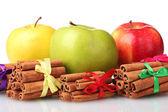 Zimtstangen und äpfel, die isoliert auf weiss — Stockfoto