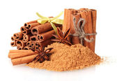 Cinnamon sticks, powder and anise isolated on white — Stock Photo