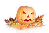 Halloween Pumpkin and autumn leaves isolated on white — Stock Photo