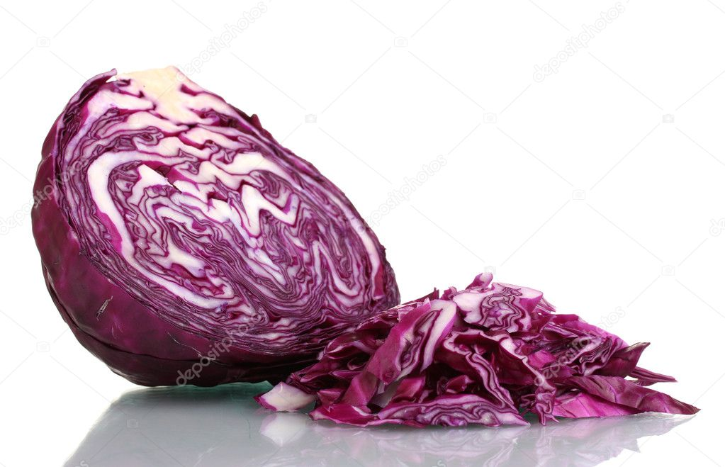 Sliced red cabbage isolated on white — Stock Photo #8372089