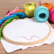 The embroidery hoop with canvas and bright sewing threads for embroidery in - Stock Photo