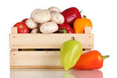 Fresh vegetables in wooden box isolated on white — Стоковое фото