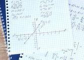 Math, physics and geometry on copybook page closeup — Stock Photo