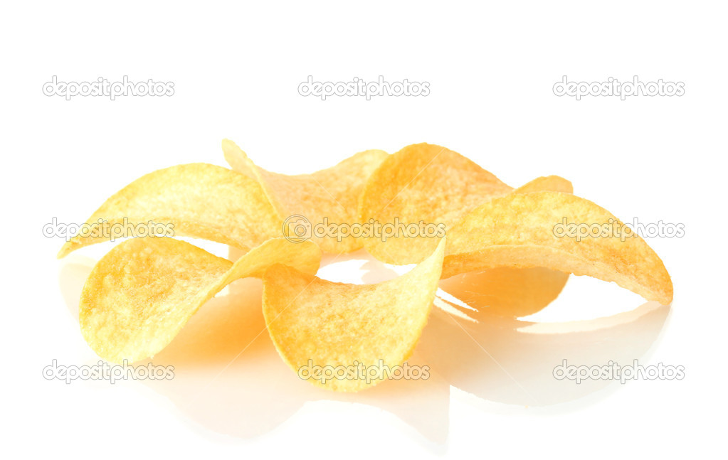 Delicious potato chips isolated on white — Stock Photo #8423191